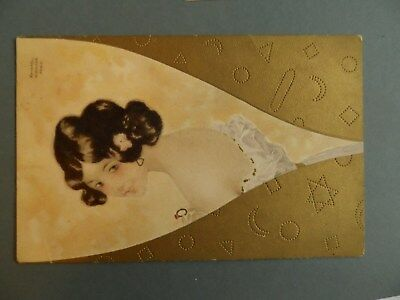 raphael kirchner postcard signed art nouveau glamour wine glass  & ring p/u 1905