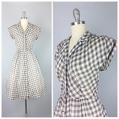 Vintage 1950s Brown And White Plaid Check Cotton Day Dress Size Small