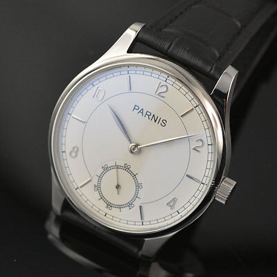 44mm parnis white dial blue marks asia 6498 hand winding mens wrist watch