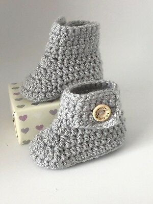 Handmade Crochet Baby Bootees / Boots - Silver Grey Button Detail