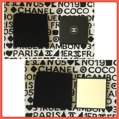"""Authentic CHANEL Black Compact Mirror W Velvet Pouch 3"""" Square VIP GIFT"""