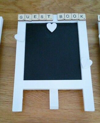 Vintage wedding quirky small chalk black board easel 'Guest Book' bespoke