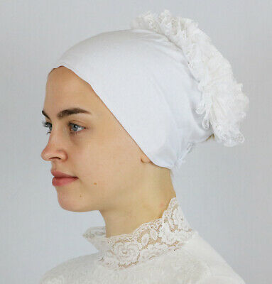Modefa Women's Islamic Turkish Cap Non-Slip Cotton Bonnet Volumizing - White