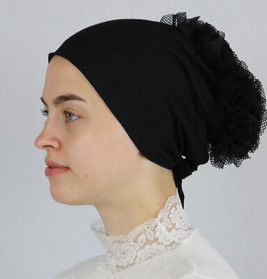 Modefa Women's Islamic Turkish Cap  Non-Slip Cotton Bonnet Volumizing - Black