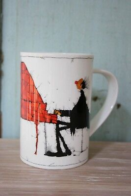 """Dunoon Fine Bone China IN TIME Michael Ferner PIANO MUSIC 4.5"""" TALL MUG VGC"""