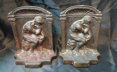 Antique Cast Iron  The Thinker Bookends - HEAVY Vintage Old
