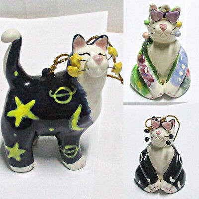 3 Whimsiclay Cat Hanging Ornaments by Amy Lacombe Signed 2002
