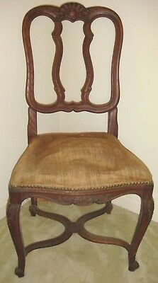 Vintage Antique COUNTRY FRENCH Oak CARVED Side Chair SHELL U0026 SCROLL
