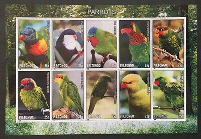Vögel Papagei Parrots Birds Oiseaux Tiere Animals KB Sheet MNH postfr. IMPERF