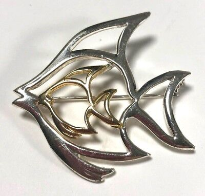 Vintage Brooch Fish Signed Danecraft Silver and Gold Outlined Pin