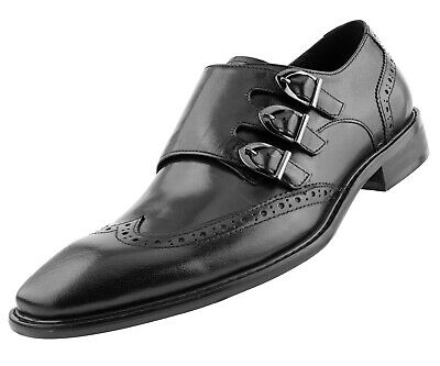 Asher Green Mens Genuine Solid Leather Triple Monk Wingtip Oxfords : Style AG119