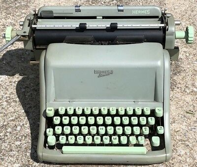 Rare Vintage Hermes Standard 8 Portable Typewriter Blue Green Switzerland