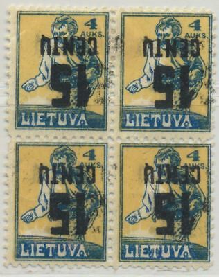 Lithuania Sc. 153a Sower 1922 MH Inverted Surcharge Block of 4