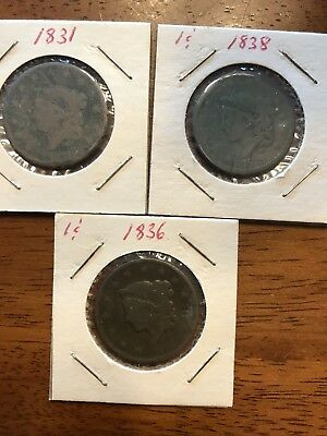 large cent lots 3 us coins 1831, 1836, 1838