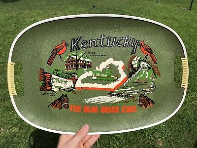 "RARE 1940s Kentucky Blue Grass Souvenir Tray Sign Derby Advertising 18"" X 11 VTG"
