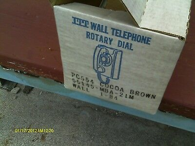 VINTAGE ROTARY DIAL WALL TELEPHONE ITT PHONE Cocoa Brown NEVER USED Tested
