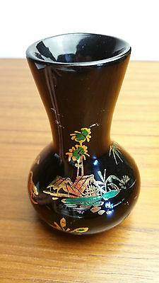 Black Flower Vase Floral Arrangement Chinese Asian Gold Hand Made Painted Arts