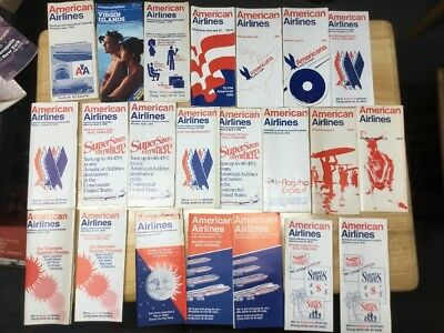 American Airlines Timetable Lot 1960's And 1970's