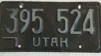 Rare Vintage Utah License Plate Clean Blacked Out Older Collectable Automobile