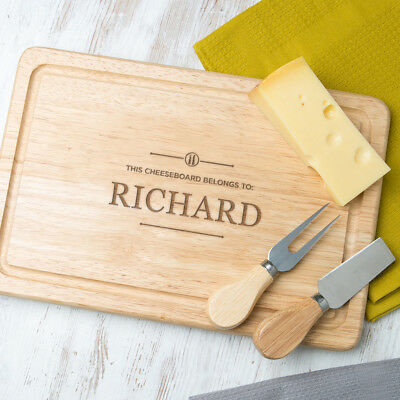 Personalised Chopping Board Wooden Engraved Cheese Cutting Serving Gift Present