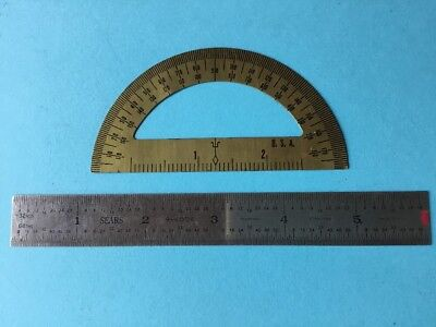 "SEARS USA Pocket Tempered Stainless Steel 6"" Ruler + USA Metal Protractor"