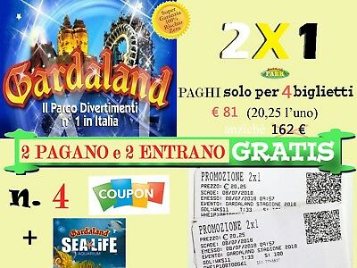 4 BUONI: N.2 COUPON TICKET 4x2 GARDALAND  2 PAGANO 2 GRATIS + N.2 SEA LIFE 4X2