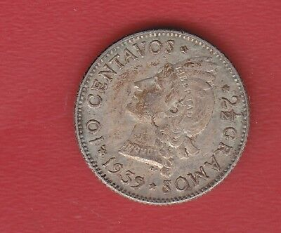 R Dominicana 10 Cents 1939 Silver