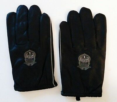 Harley Davidson Motorcycle Black Synthetic Leather Police emblem Gloves XL lined