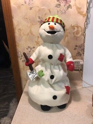 """Animated Growing Melting Snowman Sings Moving 20"""" Tall Lighted Christmas RARE"""