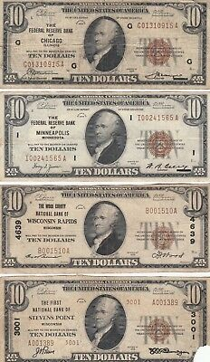 $10 1929 National Currency, lot of 4 bills