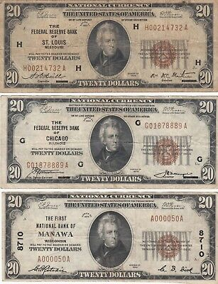 $20 1929 National Currency, lot of 3 bills