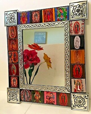 Mexican Folk Art Punched Tin Mirror Virgin Mary Guadalupe Talavera Tile Wall Art