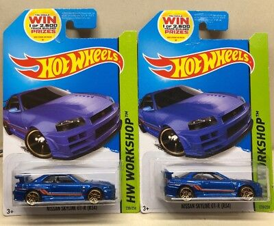 Lot Of 2 Hot Wheels 2014 Nissan Skyline R-34 GT-R Blue JDM Import Rare HTF New