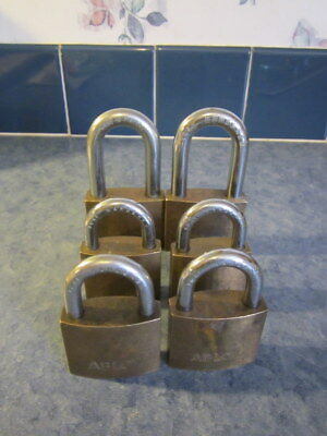 Lot Of 6 Abloy Brass Padlocks #3072, #3082,  #3041,  Made In Finland ( No Keys )