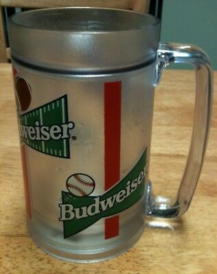 item 312 16oz budweiser plastic insulated freezer mug 4 99