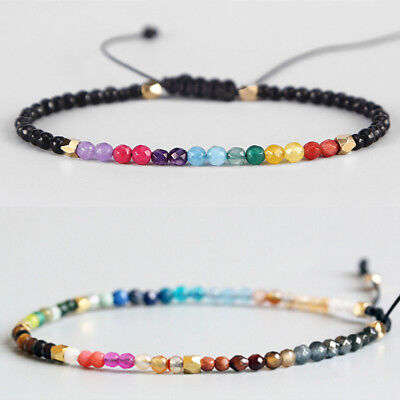 Yoga Reiki Adjustable 7 Chakra Crystal Beads Beaded Bracelet 12 Constellation