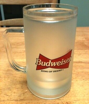 item 313 16oz budweiser bow tie plastic insulated freezer mug
