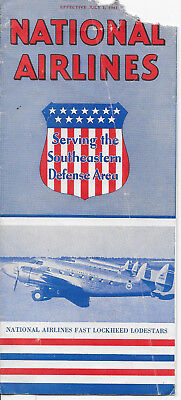 National Airlines timetable July 1941