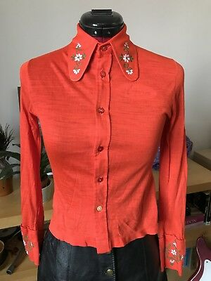 1970s Vintage Dagger Collar Embroidered Red Shirt 60s Glam