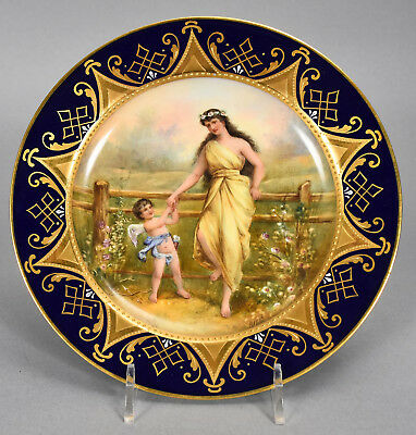 Antique Royal Vienna Hand Painted Plate - Young Beauty & Cupid signed W PFOHL