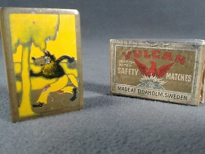 Vintage Big Bad Wolf Three Little Pigs Matchbook Safe Brass