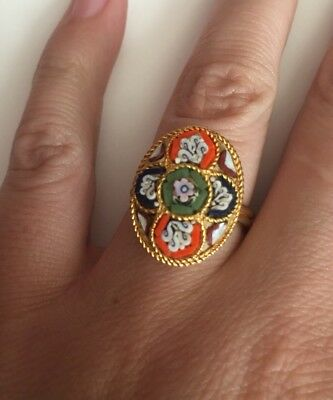 Vintage Mosaic Gold Tone Adjustable Ring