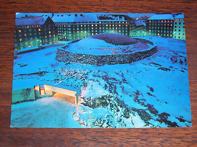 Vintage post card of Temppeliaukio Church in winter at night