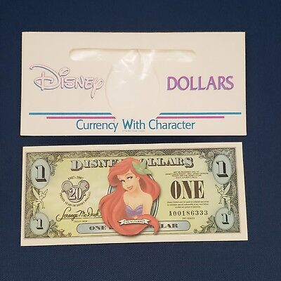 2007 $1 Ariel Little Mermaid 20th Anniversary Disney Parks Dollar with Envelope