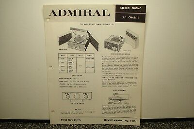 Admiral Service Manual S910-1 Stereo Phono 2J1 Chassis Y4279 Y4631 Y4902 Y4909