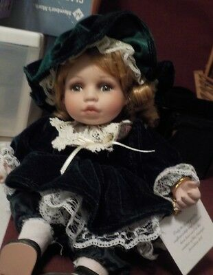 Adorable Musical Porcelain Camille Doll Green Dress- Plays Oh Christmas Tree-