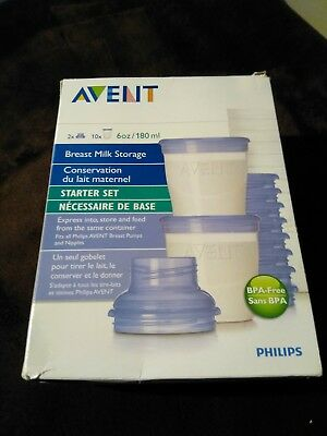 Avent Naturally Safe Breast Storage Milk Kit (10-6oz bases and lids 2)....(N)