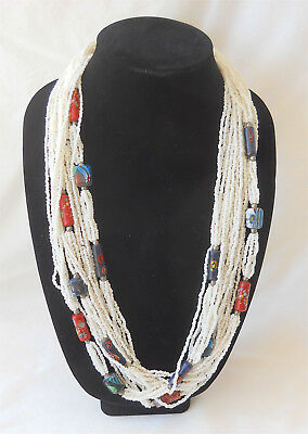 """Vintage Multi Strand Seed & Hand Painted Bead Necklace 30"""""""