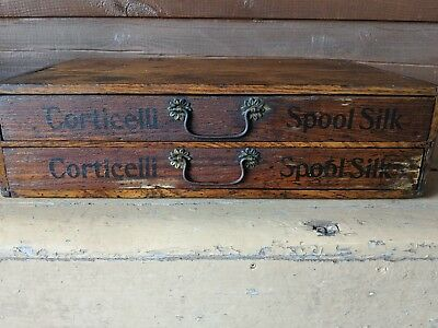 Corticelli Spool Silk Antique Two Drawer Thread Cabinet Wooden Sewing