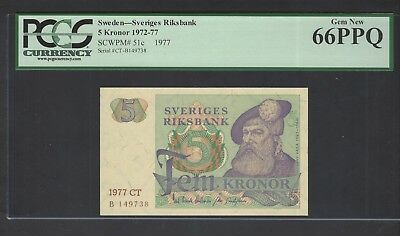 Sweden 5 Kronor 1977  P51c Uncirculated Graded 66